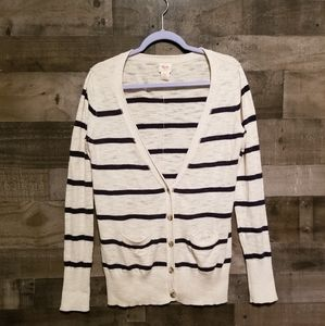 Mossimo Tan Cardigan With Navy Stripes